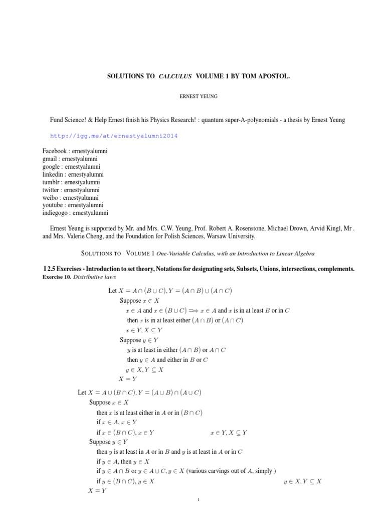 Calculus Apostol Solutions Manual Vol 1 | 2019 Ebook Library