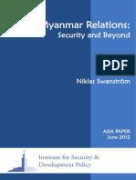 2012 Swanstrom Sino Myanmar Relations
