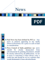 Paid News- As on January, 2014