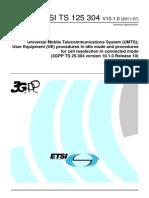 User Equipment (UE) Procedures in Idle Mode and Procedures(Umts)