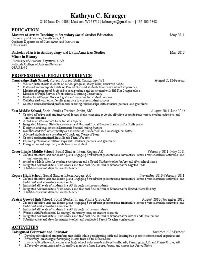 k kraeger resume pdf lecture lesson plan
