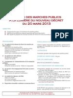 Gestion Des Marches Publics a La Lumière Du Nouveau Décret Du 20 Mars 2013