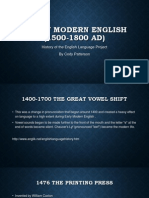 early modern english 1500-1800 ad