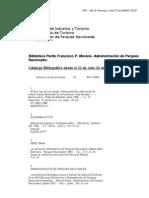 Catálogo de Materiales Bibliográficos ingresados hasta 30 noviembre 2009