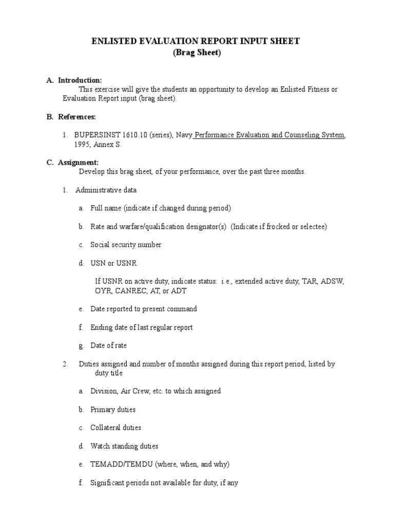 Enlisted evaluation report input sheet