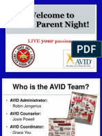 avid- villa parent night