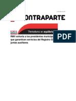 14-07-2014 Contraparte - RMV exhorta a los presidentes municipales para que garanticen servicios del Registro Civil en juntas auxiliares.
