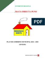 Plan de Gobierno Municipal Distrito Pisacoma Ultimo