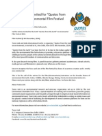 """Call for Entries Invited for """"Quotes from the Earth"""" Environmental Film Festival 2014"""