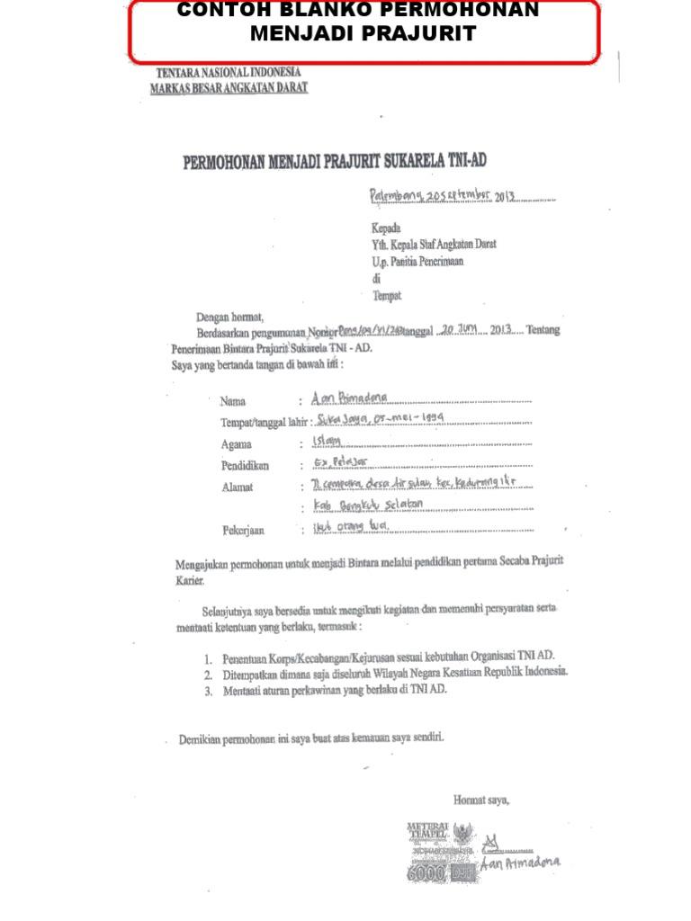 Surat Permohonan Menjadi Prajurit Tni Guru Paud