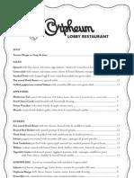 Orpheum Lobby Restaurant Menu