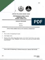 English Paper 1 Tingkatan 2 PAT 2011 Perak