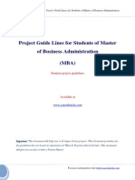 MBA Project Report Format Guide Lines