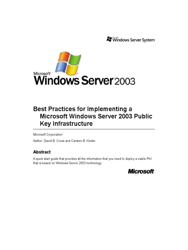 Best practices for implementing a microsoft windows server 2003 best practices for implementing a microsoft windows server 2003 public key infrastructure server computing active directory 1betcityfo Images