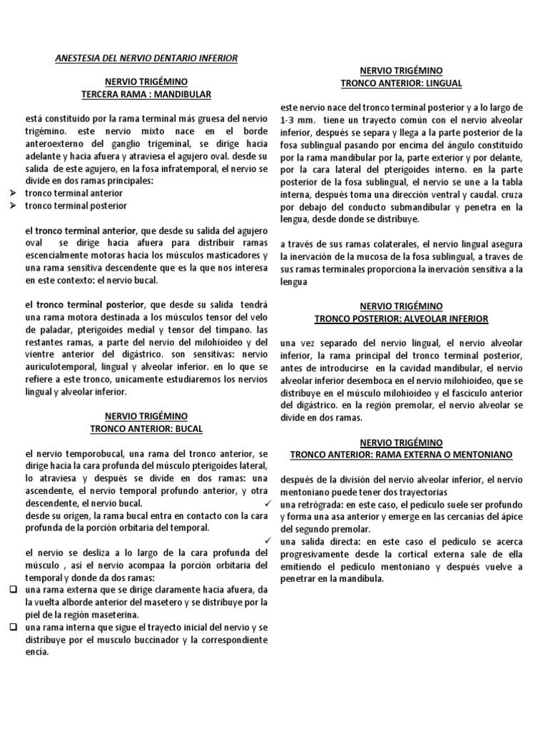 Bloque de La Conduccion Nerviosa Dentario Inferior.