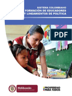 Sistema Colombiano de Formacion de Educadores y Lineamientos de Politica