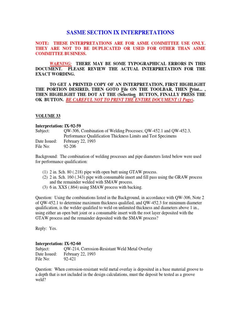 211823898 Asme Section Ix Interpretations | Welding | Pipe (Fluid
