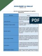 Estrutura Curricular Logistica Empresarial
