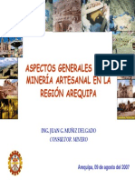 Aspectos Generales de La Mineria Artesanala en La Region Areqyuipa