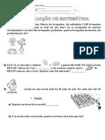 Aval de Matemática- Sistema Monetário e Horas - 3ª Ou 4ª Séries