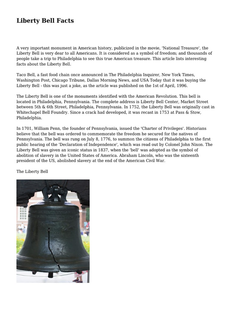 Liberty bell facts the united states politics biocorpaavc Images