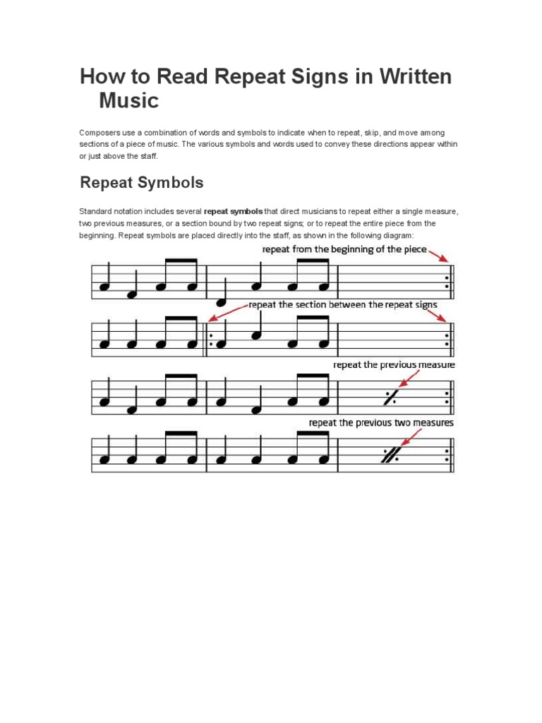 How To Read Repeat Signs In Written Music