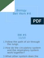 Biology Bell Work # 6