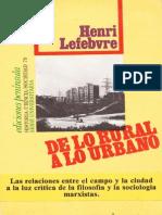 De Lo Rural a Lo Urbano Henri Lefebvre