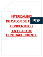 Intercambio de Calor de Tubo Concentrico en Flujo de Contracorriente