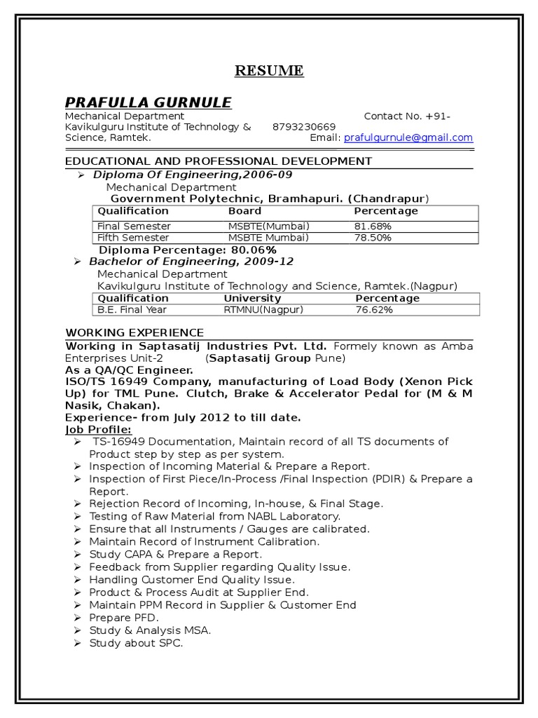 RESUME-BE+DME(Mech Engg with 2 Years Exp. | Career And Technical ...
