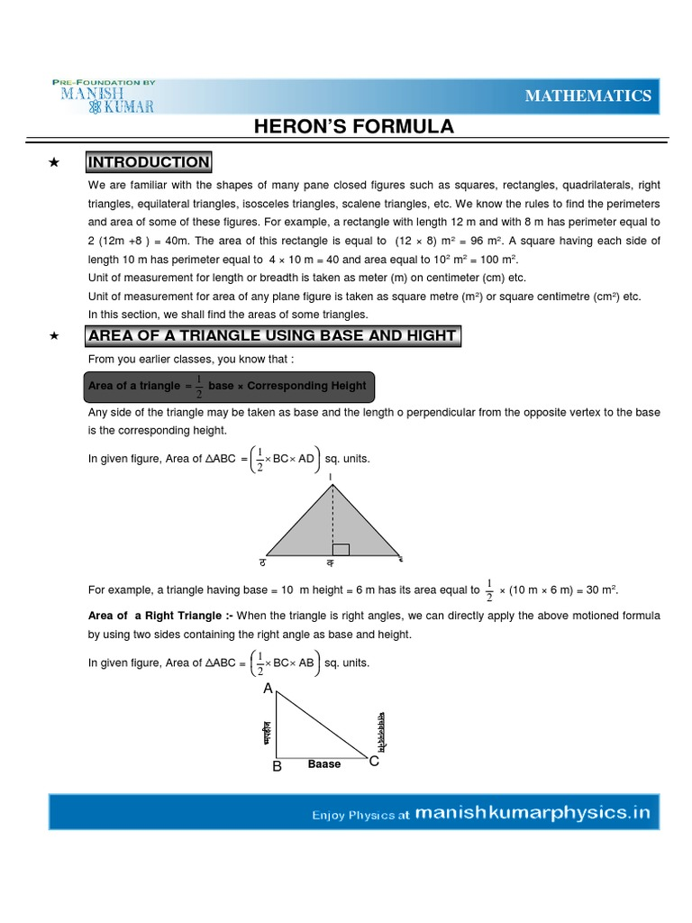 Heron's Formular Surface Areas And Volumes & Triangles  Area  Triangle
