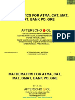 MATHEMATICS FOR ATMA, CAT, MAT, GMAT, BANK PO, GRE