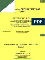 mathematics for OPENMAT MAT CAT GMAT