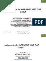mathematics for OPENMAT MAT CAT GMAT 25 april