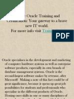 Oracle Online Training - Trainingicon
