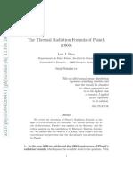 Thermal Radiation Formula of Planck