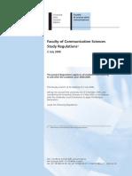 Regolamento Studi Facoltà Scienze della comunicazione USI