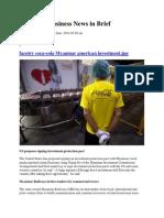 Myanmar Business News in Brief