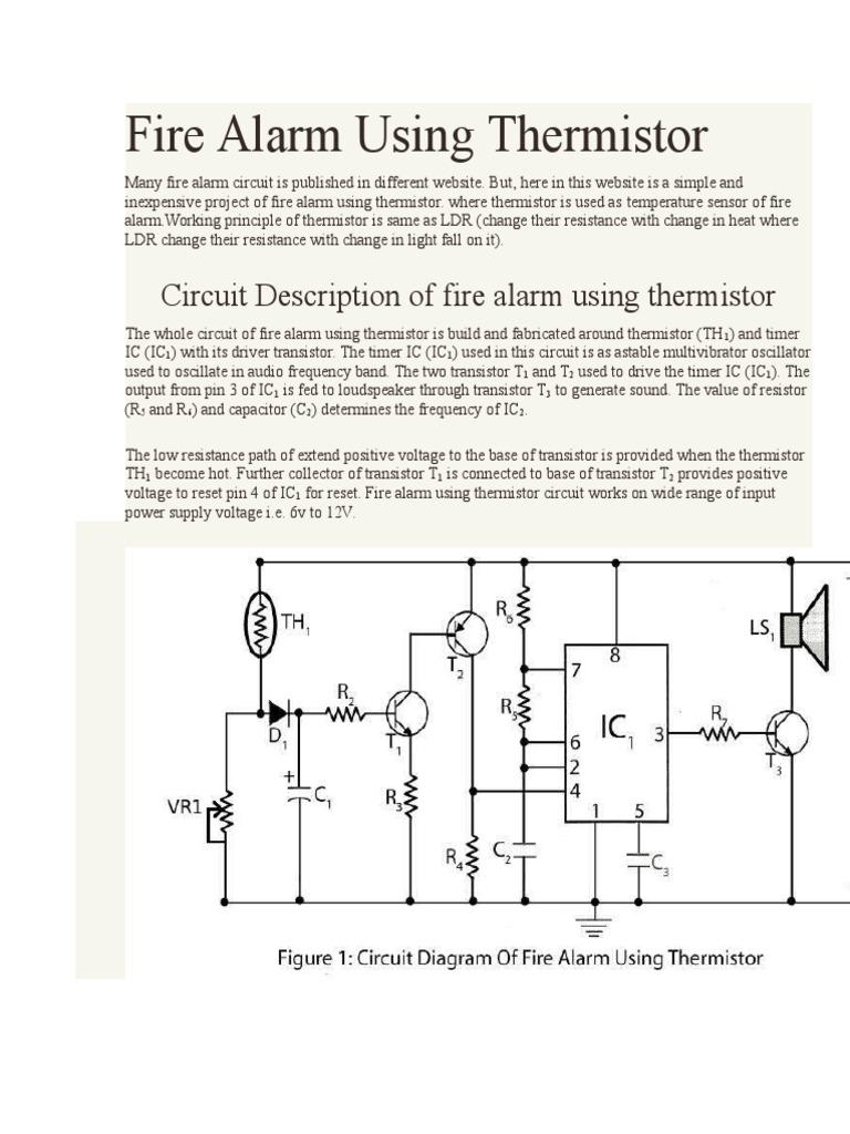 Fire Alarm Using Thermistor Circuit Diagram 1544646428v1
