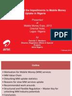 Working Around the Impediments to Moble Money Uptake in Nigeria - Osondu Nwokoro, Airtel Nigeria