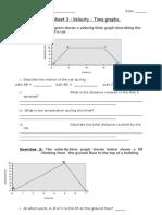 Worksheet 3- Velocity Time Graphs