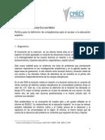 Competencias para el acceso a la educación superior S E  CPRES - Araujo