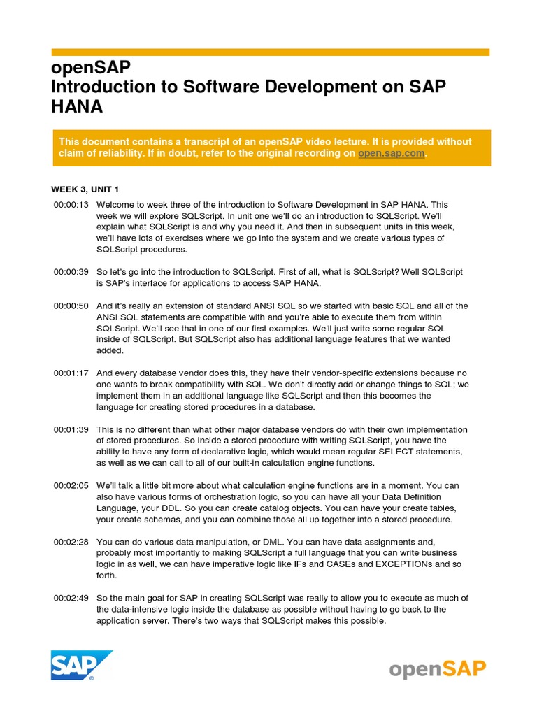 OpenSAP HANA 1 Week 3 Transcripts | Sql | Parameter (Computer