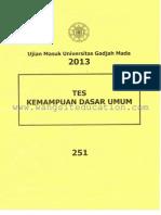 [Www.wangsiteducation.com]UM UGM 2013 Dasar Kode 251(Mark)