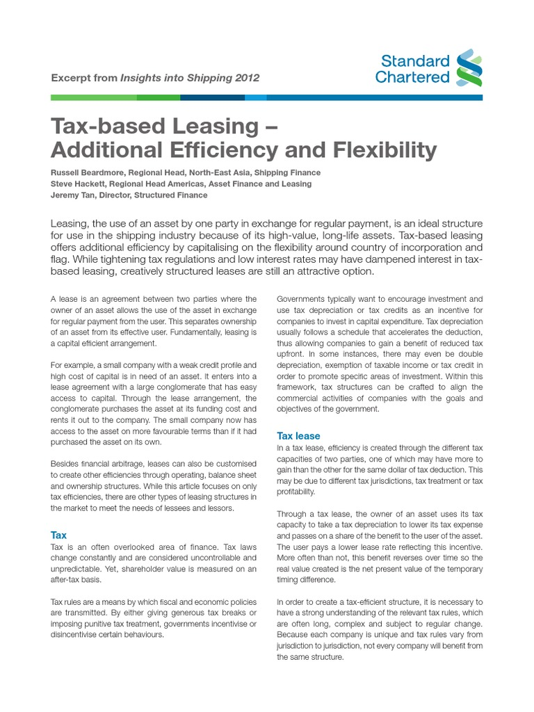 Tax Based Leasing Lease Taxes
