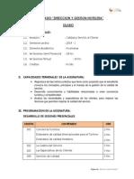 SILABO Direccion y Gestion Hotelera