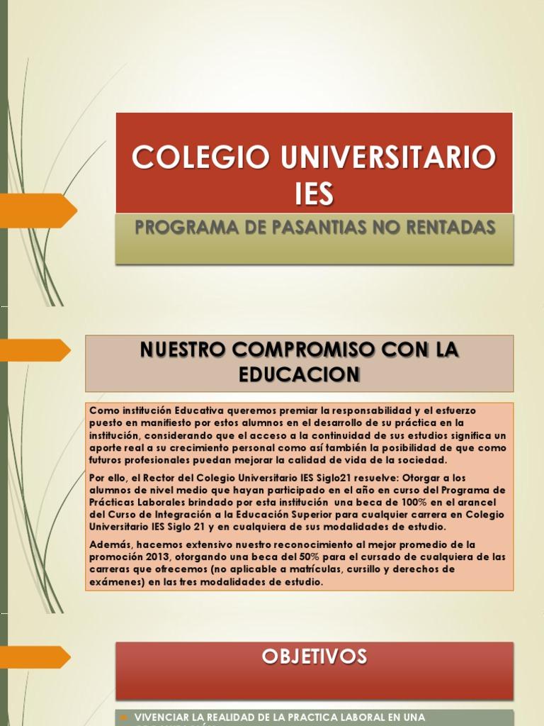 Pasantias Colegio Universitario Ies