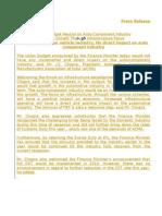 Press Release Union Budget 2009 2010