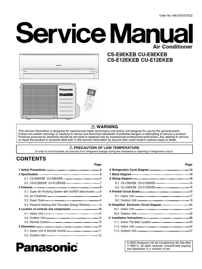 servicemanual panasonic air conditioning hvac rh scribd com Panasonic Inverter Microwave Walmart Panasonic Inverter Microwave