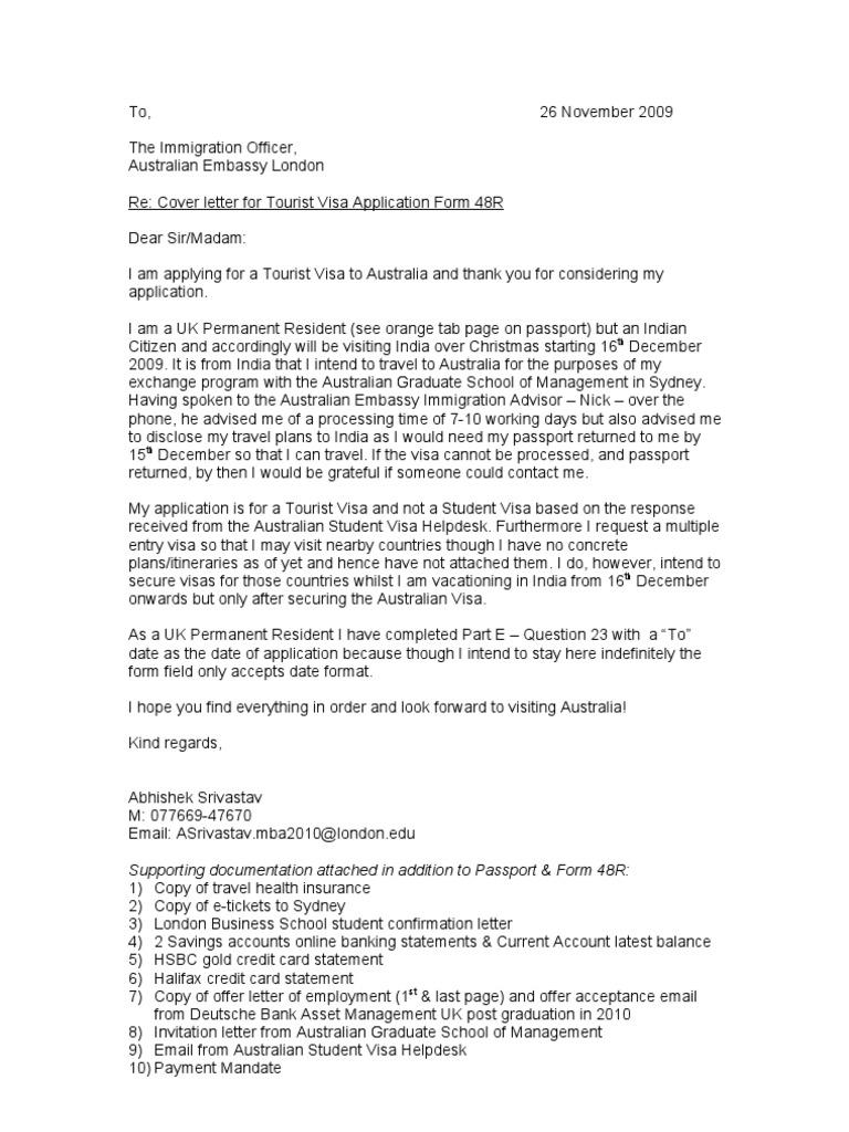 Aussie Visa Cover Letter – Job Application Cover Letter Australia